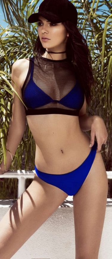 Who made  Kendall Jenner's blue and black mesh bikini?