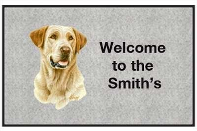 "Yellow Lab Head - Sporting Dogs - Gray, Personalized - Door and Welcome Mat (send email with text desired to Outdoor Specialties) by Express Yourself Mats. $34.83. Non-Skid Backing. Made in USA. Great Gift Idea!. Personalization Available (choose above) - EMAIL TEXT TO SELLER AFTER CHECKOUT. Door Mat Size 27""x18"". Enjoy the Yellow Lab Head design heat pressed on this light-weight, low pile, woven polyester door mat. This decorative welcome mat measures 27 x 18 inches, is 1/8 i..."