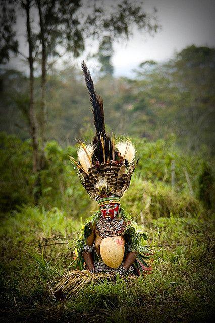 Papua New Guinea feathers headdress on a melpa woman, Mt Hagen sing sing