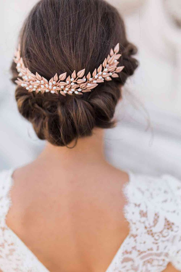 Pretty Updo and Rose Gold Headpiece   www.thebohemianwe...   Follow us on Instagram and Facebook: @thebohemianwedding