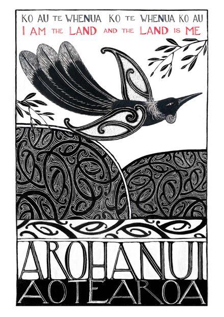 """I Am The Land"" New Zealand Art Print, open edition."
