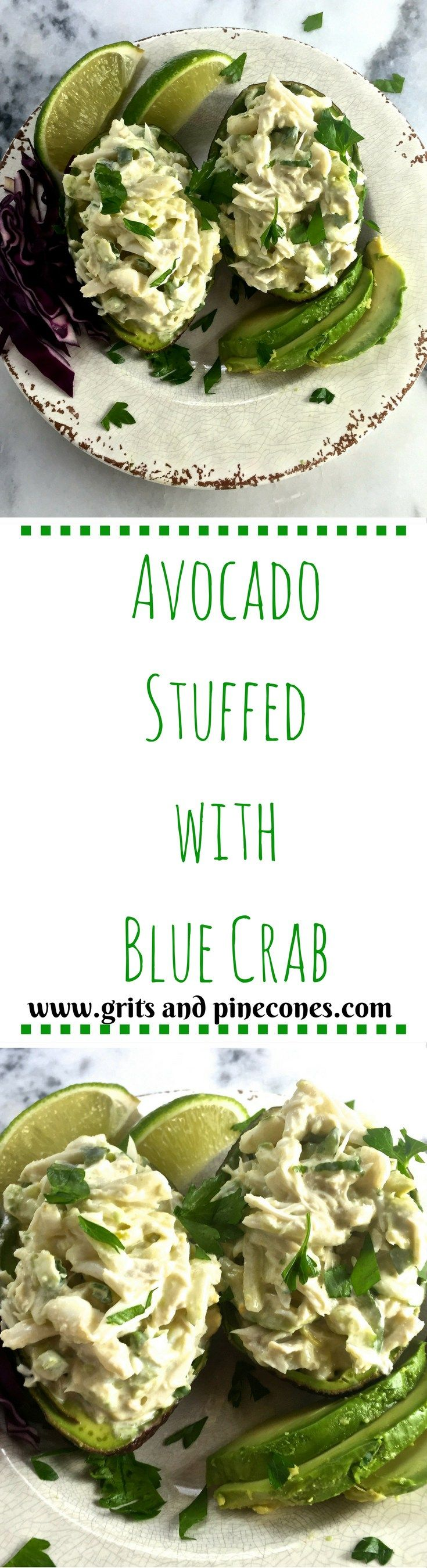 Avocado Stuffed with Blue Crab -Delicious, fresh, lump blue crab meat combined…