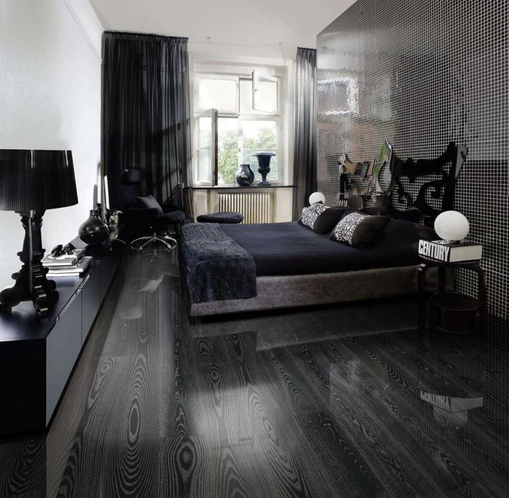 Floor Beauty Grey Laminate Flooring For Modern Bedroom Have Black Bed Cover And Frame Front Lamp On Long Nightstand Beside