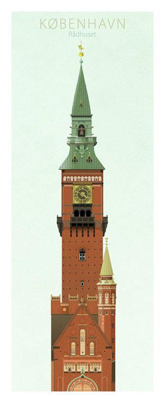Famous Towers of Copenhagen by Dominique Jal (www.dojal.dk ) Town Hall