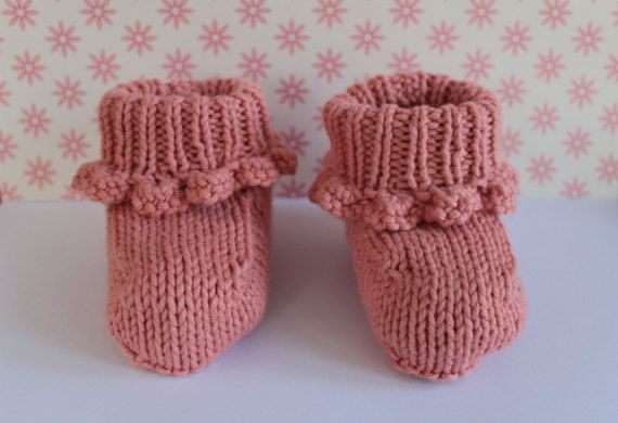 Peach Baby Booties Pretty Crib Shoes Cotton Baby by Pinknitting
