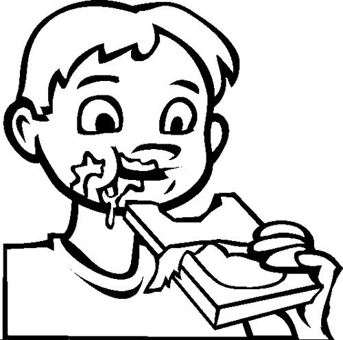 The Child Eat Chocolate Bar Coloring Page