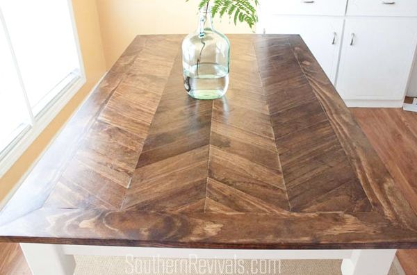 herringbone pattern to replace 80s tile-top table