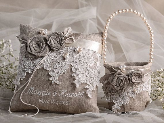 Flower Girl Basket & Ring Bearer Pillow Set, Shabby Chic Natural Linen, Embriodery Names,