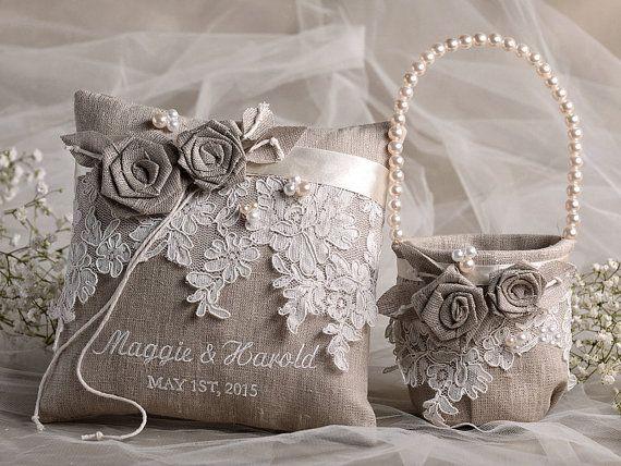 Flower Girl Basket & Ring Bearer Pillow Set, Shabby Chic Natural Linen, Embriodery Names,