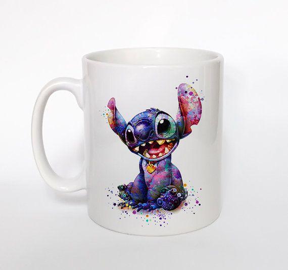 Stitch 2 Mug Kids Mug Milk Cup Watercolor Art Cup by ArtsPrint