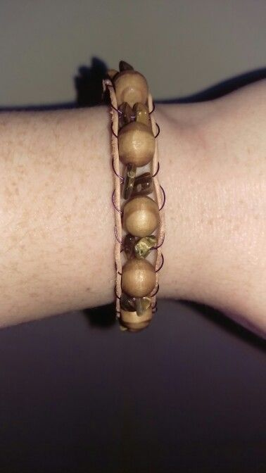 Finished wooden bead and tigers eye ladder bracelet