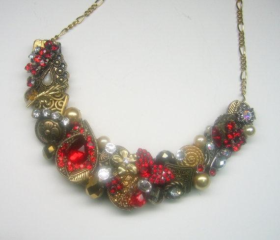 Ruby Red Statement Bib Necklace with Rhinestone by BrassBoheme, $75.00