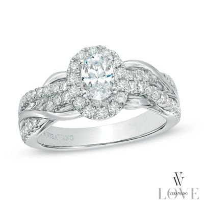 Vera Wang LOVE Collection 1 CT. T.W. Oval Diamond Loose Braid Engagement Ring in 14K White Gold - View All Rings - Zales
