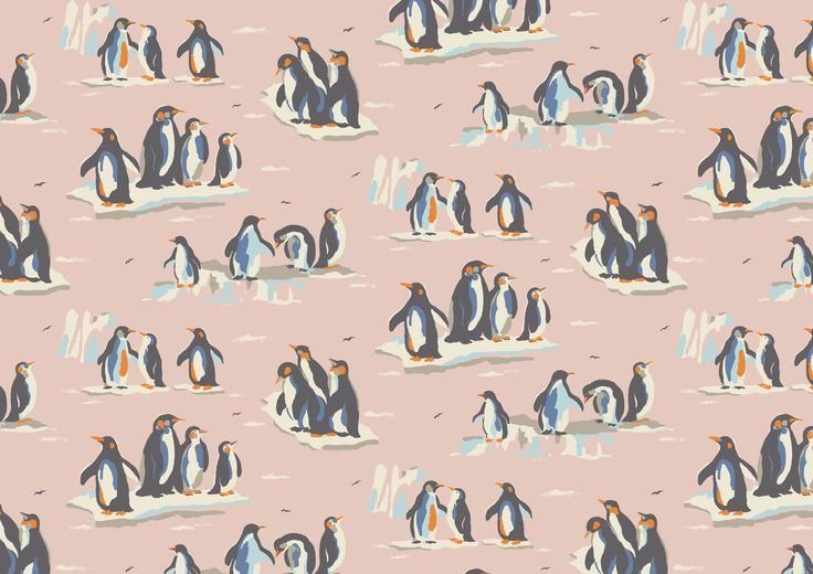 Penguins | Seeing sweet printed penguins in their icy Arctic home instantly makes us feel cosy! This perfect winter novelty print was originally designed for our AW13 collection | Cath Kidston AW15 |