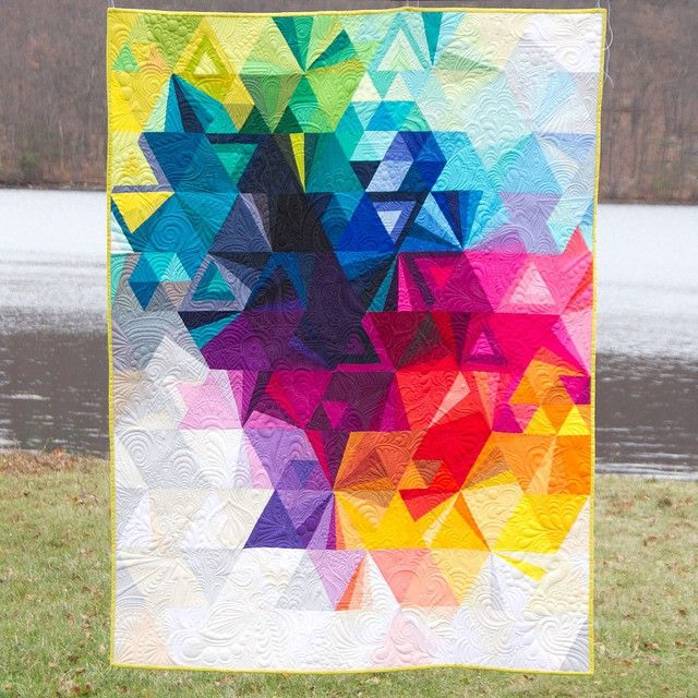 Tesselation quilt 3. Robert Kaufman Kona Cotton. Nydia Kehnle quilted by Karlee…