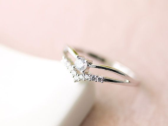 Double Layered Chevron Crystal Ring Jewelry Wedding by authfashion, $11.00