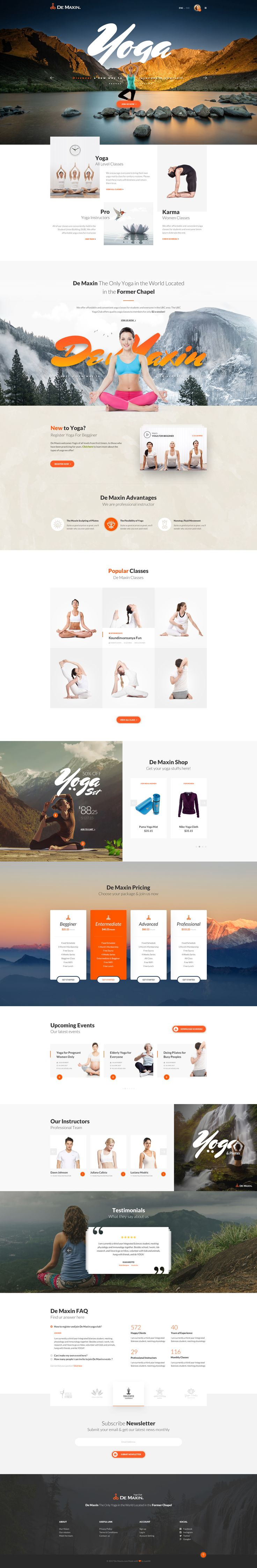De Maxin - Yoga PSD Template #ecommerce #health & beauty #modern • Download ➝ https://themeforest.net/item/de-maxin-yoga-psd-template/20468605?ref=pxcr