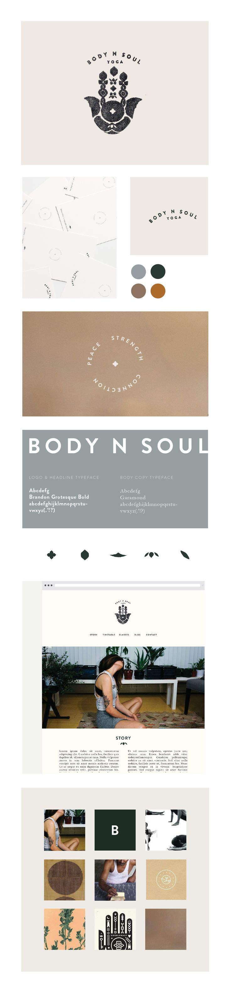 Simple, modern logo design by Kelsey Hutchinson. Click the link to see more.   http://kelseyhutchinson.com/Body-n-Soul-Yoga  Brand identity, print and web design for Body n Soul Yoga, a yoga studio based in Central Queensland, Australia. The essence of the studio is based on three words, peace, strength and connection, with inspiration taken from Indian block printing and yogic motifs.