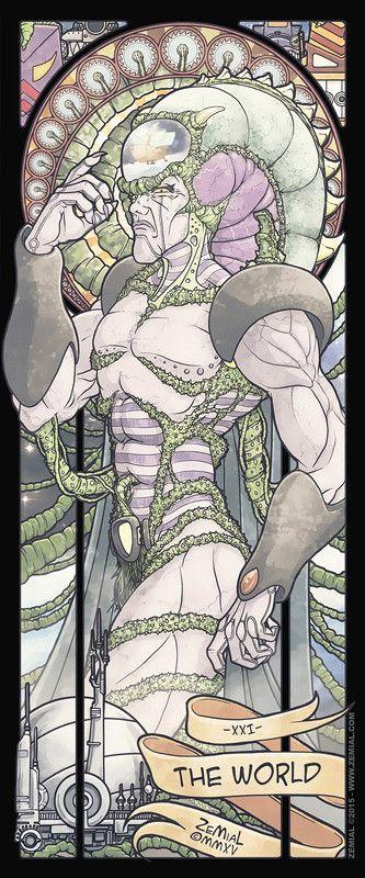 The Shonen Avengers : XXI - The World (Diskor) THE SHÕNEN DARKNESS : vingt et unième carte du tarot piémontais symbolisant le monde, inspirée dans le style Art Nouveau de l'univers de l'animé Jayce and the Wheeled Warriors (Jayce & les Conquérants de la Lumière).