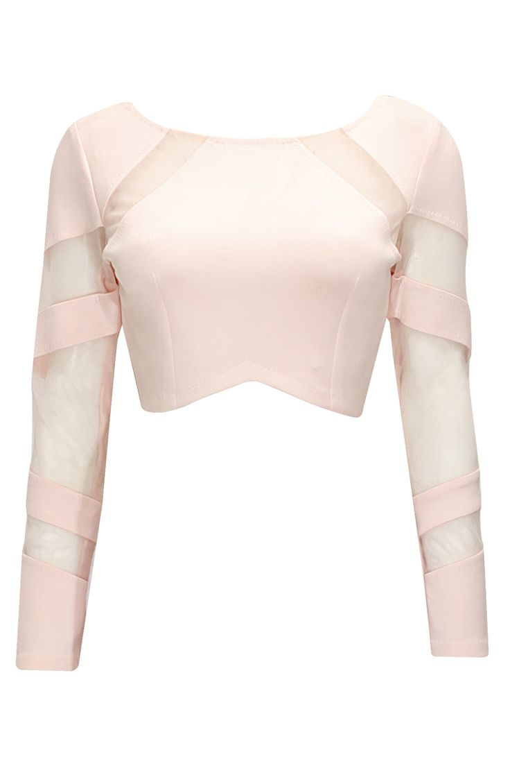 Blush mesh detail crop top available only at Pernia's Pop-Up Shop.