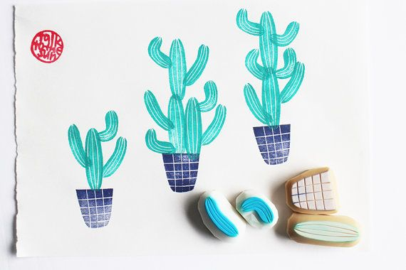 cactus stamp set. cactus pot hand carved rubber by talktothesun