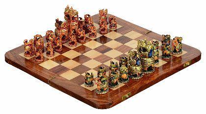 UTSAV KRAFT Handmade Chess Board with Chess Pieces (Multi-Color) -