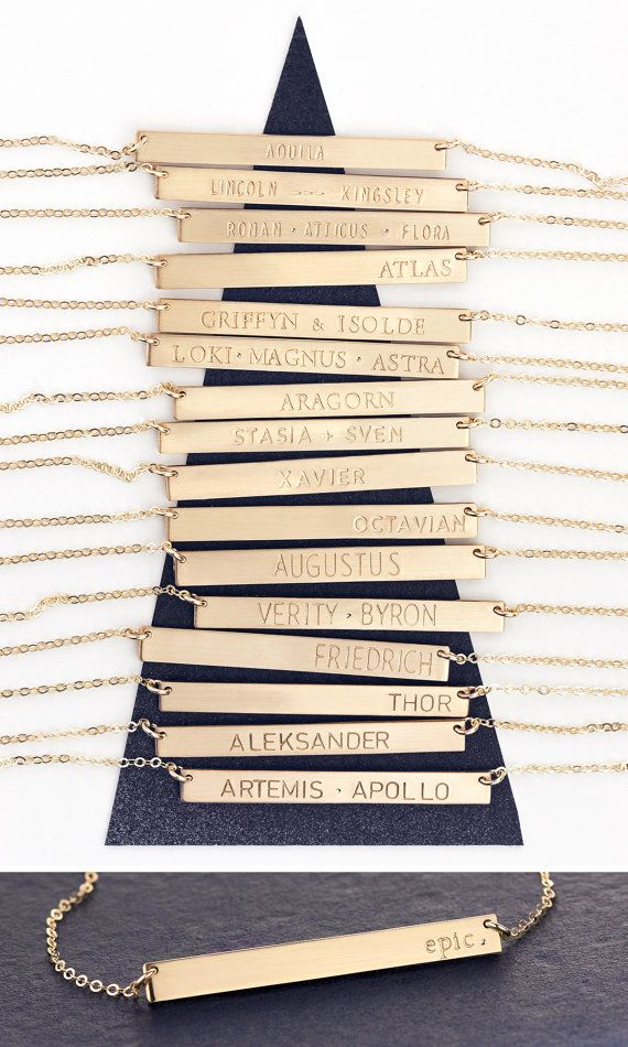 Personalized Bar Necklace in 14k gold fill, rose gold fill or sterling silver bar. Epic Name Bar Necklace - handmade just for you.