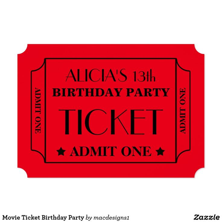 17 best Birthday images on Pinterest Birthday invitations - create your own movie ticket