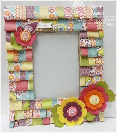 """Ruffled Paper Frame Mirror, By """"Create With Connie and Mary"""".  Isn't this SOOOOO cute?    I love seeing things and knowing that I could re-create them with my Stampin' Up! products!    It just gives me better sense of VALUE that I have for Stampin' Up!    They give us such a variety of products to use!: Paper Frames, Idea, Free Tutorials, Ruffles Paper Fram, Frames Tutorials, Frames Mirror, Paper Crafts, Frames Free, Pictures Frames"""