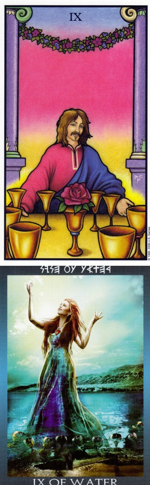 Nine of Cups: luxury and dissatisfaction (reverse). Connolly Tarot deck and Ibiza Tarot deck: free web tarot, daily tarot online and how to use tarot cards. Best 2018 magic and tarot decks for sale.