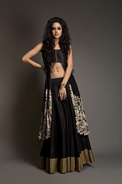Black and gold semi raw silk jacket with satin flow lehenga