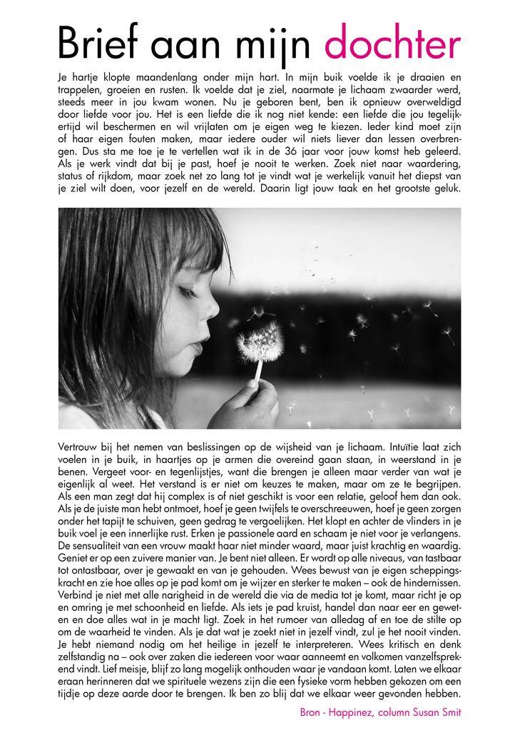 'Brief aan mijn dochter' ~ Susan Smit - Prachtige tekst geschreven door een toekomstige moeder... <3 Moederliefde <3
