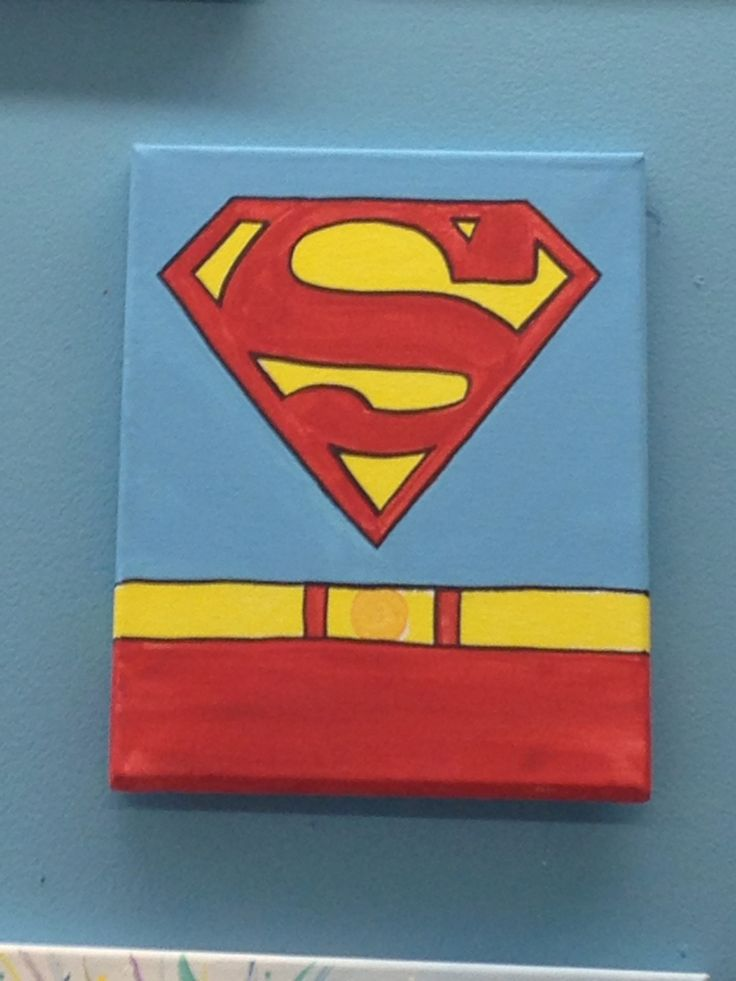 Cute fun and easy superman canvas painting canvas for Cute painting ideas for kids