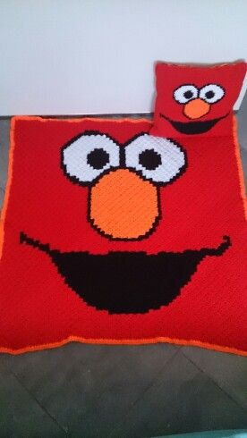 Crochet Elmo Pillow And Blanket Graphghan My Crochet And