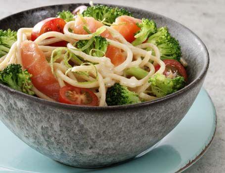 Ingredienser320 g fuldkornspasta, fx spaghetti500 g broccoli2 dl bouillon1 dl hvidvin eller bouillon1 usprøjtet lime- eller citronskal1 spsk limesaft1 spsk majsstivelse1 dl fløde 9%salt og peber200 g røget laks200 g cherrytomaterTilberedning Kog pastaen efter anvisning på emballagen. Skær broccolihovedet i små buketter og stokken i små tern. Kog broccolien med pastaen de sidste 3-4 minutter… Læs mere »
