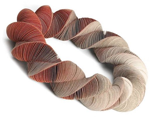 Sculpted Paper Jewelry by Nel Linssen: Tessellated pieces inspired by nature.