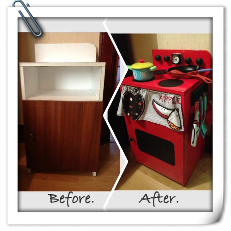 Bedside Table up-cycled into Play Cooker
