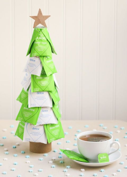 Arm yourself with a glue gun, some tea bags, and a styrofoam cone, and you've got yourself the perfect christmas tea tree.