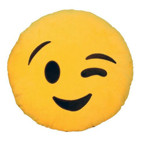 awesome Winking Eye Smiley Emoji Pillow