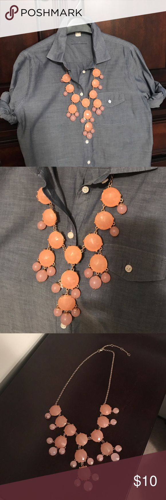 Pink and coral bubble necklace Pink and coral bubble necklace with adjustable gold link chain Jewelry Necklaces