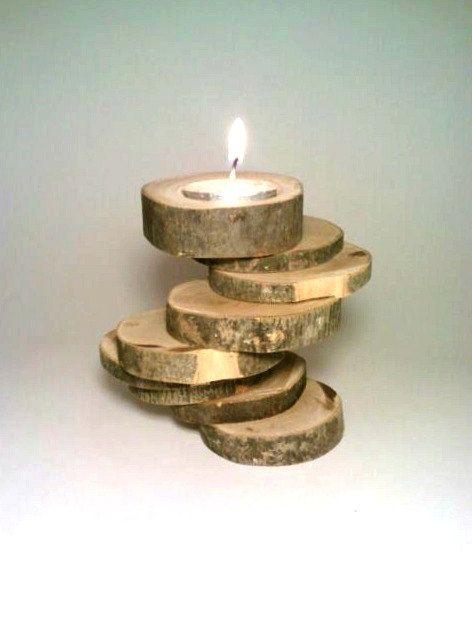 Candle Holder, Rustic Candle Holder, Log Candle Holder, Spiral, Nine-tiered, Wood, Unique, OOAK. $25.00, via Etsy.