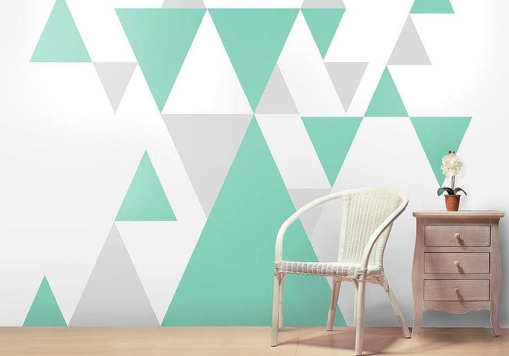 Ruang Tamu Simple Cat Dinding Corak Geometri