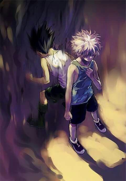 Gon and Killua in HunterxHunter. I love this art so much <3