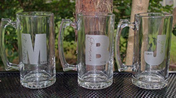 10 Personalized Groomsman Gift Etched Beer Mug. by alishasdesigns