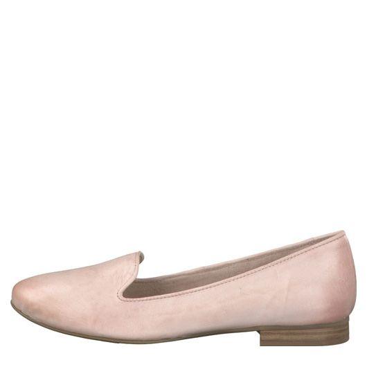 roze instapper van Tamaris, ook in andere kleuren en zwart (€ 69,99) / pink loafer from Tamaris