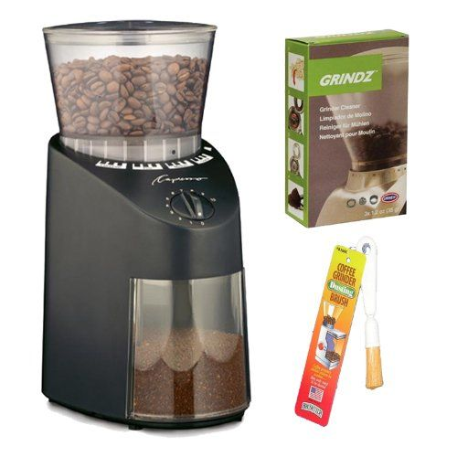 Capresso Jura Infinity 560 Conical Burr Coffee Grinder - Black + Coffee Grinder Dusting Brush + 3-pack 35G Grindz Coffee Grinder Cleaner Capresso http://www.amazon.com/dp/B0094388XK/ref=cm_sw_r_pi_dp_a7vlub1X07KYD