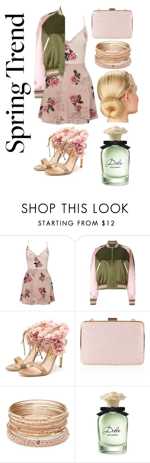 """""""Pink And Green..."""" by allenstefanie ❤ liked on Polyvore featuring Lipsy, Alexander McQueen, Rupert Sanderson, Monsoon, Red Camel and Dolce&Gabbana"""