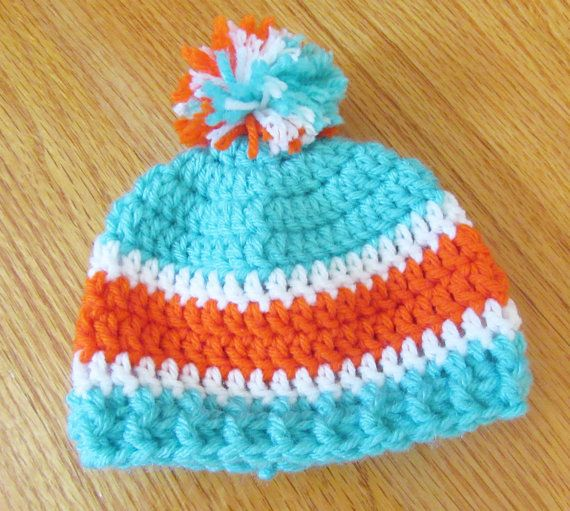 Crochet Baby Sports Team Hat Miami Dolphins Hat by TheComfyBaby