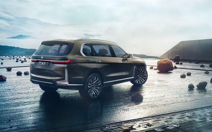 Descargar fondos de pantalla BMW X7 Concepto de 2017, vista posterior, 4k, el Suv de lujo, autos nuevos, X7, los coches alemanes, BMW