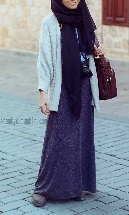 White/Gray Sweater, Dark Blue/Gray Heavy Skirt, Silk Sheer Black Scarf, Brown Boots